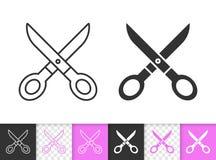 Scissors a linha simples ícone do preto da costura do vetor ilustração do vetor