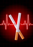 Scissors made of cigarettes cutting the heartbeat line Stock Photo