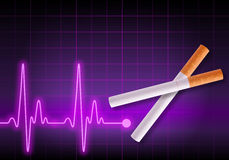 Scissors made of cigarettes cutting the heartbeat line Royalty Free Stock Image