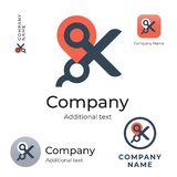 Scissors and Maps Mark Logo Modern Identity Brand Commercial and App Icon Symbol Concept Set Template. Vector Stock Photography
