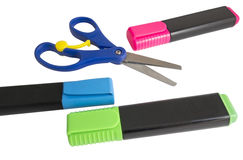 Scissors and markers Stock Images