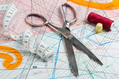 Scissors, measuring tape, thimble, thread Royalty Free Stock Images