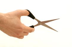Scissors in nand Royalty Free Stock Image