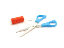 Scissors, needle and thread Royalty Free Stock Image