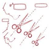Scissors and needles doodle Stock Photo