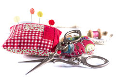 Scissors, Needles and Needle Case Royalty Free Stock Images