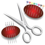 Scissors, needles and pins Royalty Free Stock Photos
