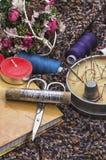 Scissors,needles,threads,fabrics Stock Photo