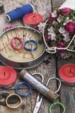 Scissors,needles,threads,fabrics Royalty Free Stock Photography