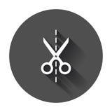 Scissors o ícone com linha de corte Scissor a ilustração do vetor ilustração stock