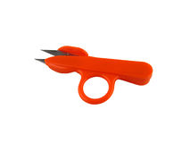 Scissors of orange color for needlework, embroidery, knitting, o Royalty Free Stock Photo