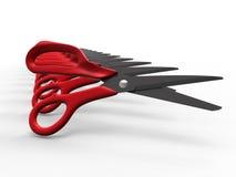 Scissors ordnat i en linjär modell royaltyfri illustrationer
