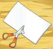 Scissors and paper. Illustration depicting a table on which are supported scissors and cut a sheet of paper Royalty Free Stock Image