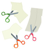 Scissors and paper coupons set Royalty Free Stock Image