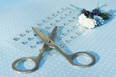 Scissors, paper flowers and rhinestones are on paper with polka Stock Image