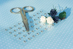 Scissors, paper flowers and rhinestones are on paper with polka Stock Photos