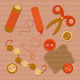 Scissors and a piece of cloth, a pencil, buttons, beads and a ne vector illustration