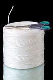 Scissors and polypropylene thread Stock Photos