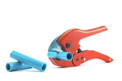 Scissors pvc. Tools for cutting PVC pipe Stock Photo