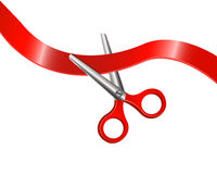 Scissors and red ribbon Stock Photos