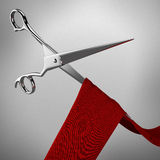 Scissors and red ribbon Royalty Free Stock Photo