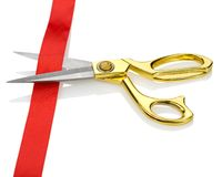 Scissors with a red tape Stock Image