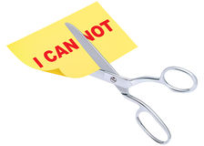 Scissors remove the word i can not to read i can Stock Images