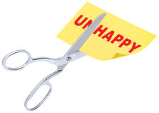 Scissors remove the word unhappy to read happy Royalty Free Stock Images