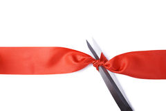 Scissors and ribbon Royalty Free Stock Images