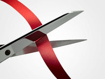 Scissors and ribbon (CLIPPING PATH ) Royalty Free Stock Photography