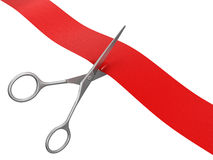 Scissors and Ribbon (clipping path included) Stock Photo