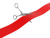 Scissors and Ribbon (clipping path included) Royalty Free Stock Photo