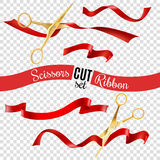 Scissors And Ribbon Transparent Set Royalty Free Stock Images
