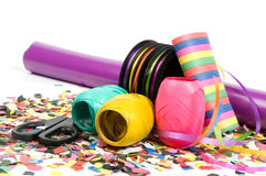 Scissors, ribbons, bows, paper, streamers Stock Image