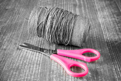 Scissors and rope Royalty Free Stock Images