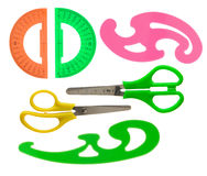 Scissors and school accessories isolated on white Stock Images