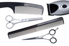 Scissors, scissors tapering, machine for hairstyle. And hairbrush On a white background stock image