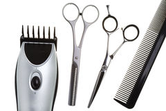 Scissors, scissors tapering, machine for hairstyle Stock Images