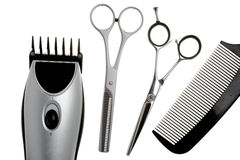 Scissors, scissors tapering, machine for hairstyle Royalty Free Stock Images