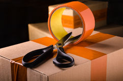 Scissors and Scotch tape box Stock Photo