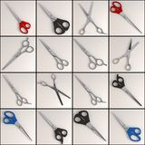 Scissors set - 16 Royalty Free Stock Photography