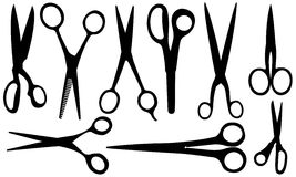 Scissors. Set of different scissors isolated on white Royalty Free Stock Photos