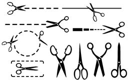 Scissors set with dotted line  Royalty Free Stock Images