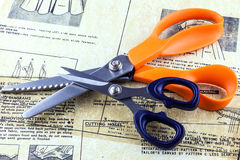 Scissors and sewing instructions Stock Photo