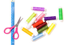 Scissors, sewing and ruler Stock Photos