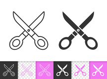 Scissors simple sewing black line vector icon vector illustration