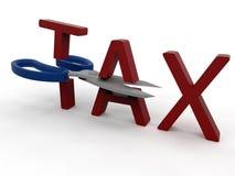 Scissors slicing taxes Stock Image