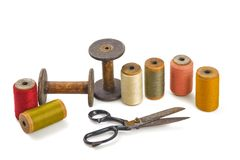 Scissors and spools Stock Photography