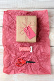 Scissors String Present Red Tissue Paper Royalty Free Stock Photography