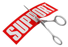 Scissors and Support (clipping path included) Royalty Free Stock Photo